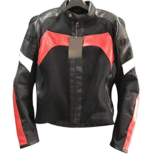 Chaqueta de Montar de Motocicleta de Malla de Verano de Cuero de los Hombres, Chaqueta de Carreras sin Forro, Equipo de Protectores de Chaqueta de Moto Red L