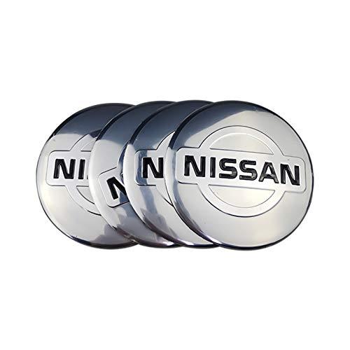 Coche Tapas centrales 4PCS Wheel Hub Center Pegatinas Compatible con Nissan X Trail Xterra Qashqai T30 T31 Tiida Almera Navara Altima Juke Note Hoja Aleación de la hoja Calcomanía Accesorios para el C