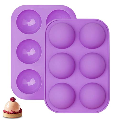 6 Holes Silicone Molds, Half Sphere Silicone Molds Cake Molds for Baking Round Shape Silicone Molds for Baking Pudding Jelly Handmade Soap Dome (Purple)