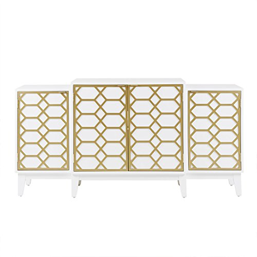 "Madison Park Maria Media Console Cabinet - Modern Mid-Century, Lattice Design Buffet/Sideboard Accent Living Room Furniture, 68"" Wide, Gold/White"