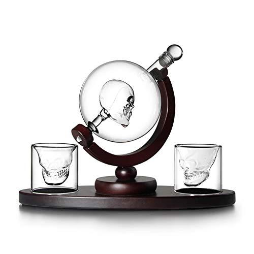 CJTMY Decanter Conjunto con 2 Gafas de Chapa Licor de Cristal Carafe Globe Decantador de vinos Creative Home Bar (Size : Style 1)