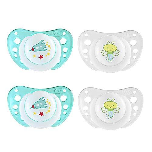 CHICCO - Ciuccio Light LUMI Boys in silicone morbido, 16-36 mesi, senza BPA, confezione da 4 pezzi, con 2 scatole per il trasporto sterilizzate