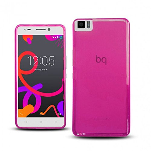 Funda para bq Aquaris M5 de Gel (Silicona), semirrígida, Color Rosa translúcido