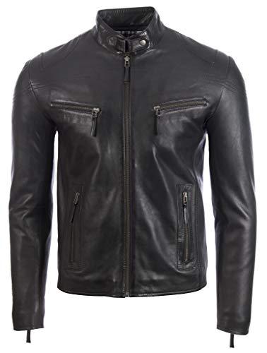Aviatrix Herren Sehr Stilvoll Echtes Leder Biker Mode Jacke (UH2P)