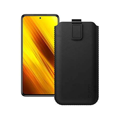 Slabo Schutzhülle für Xiaomi Poco X3 Pro Schutztasche Handyhülle Hülle mit Magnetverschluss aus Kunstleder - SCHWARZ | Black