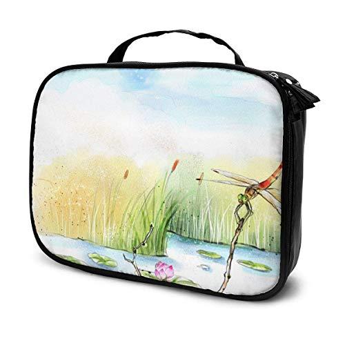 Dragonfly Travel Makeup Bag Organizer, tragbare abnehmbare Trennwände mit großer Kapazität Makeup Train Case Aufbewahrung Mehrzwecktasche Geschenk für Mädchen Frauen