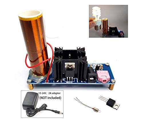 15W DC15-24v Pre-assembled No soldering required musical Tesla Coil Kit Arc Plasma Scientific Toy /Light up lamp/ Producing glowing arc/ Wireless Transmission Demonstration Desktop tesla coil speaker