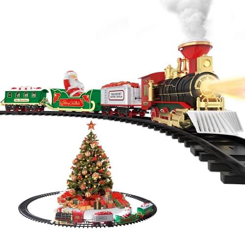 Hot Bee Juego de tren de juguete eléctrico con pilas de juguete con humo, luces realistas y sonidos ferroviarios 4 coches y pistas, regalos para niños de 3 4 5 6 7 8 años