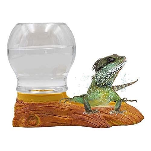 PROBEEALLYU Reptilien-Wasserspender Schildkröten-Wasserspender Trinkwasserflasche Wasserschale Automatisch nachfüllende Eidechsen-Tränkeschale Crawler-Futterschale für Amphibien Schildkröten-Eidechsen