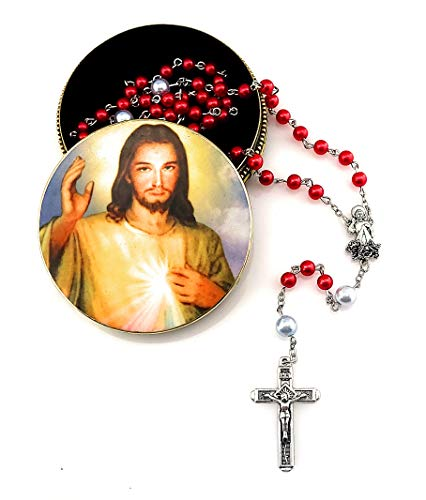 Divine Mercy Rosary Gift Set. Includes Jesus Christ Divine Mercy Metal Rosary Box Tin Case and Pearl Red and White Rosary with Divine Mercy Figurine Silver Metal Centerpiece