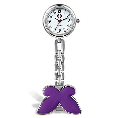 Lancardo Damen Taschenuhr, Krankenschwester Uhr Analog Quarzuhr aus Legierung, mit Schmetterling Design Schwesternuhr, lila