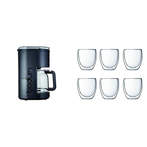 Bodum Bistro Cafetière Electrique Programmable à Filtre Permanent Noir 1,5 L 900 W + Coffret à 6 verres Pavina 25 cl