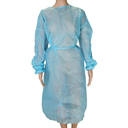 Vivezen ® Lot de 10 surblouses de protection jetables - Taille unique - Bleu - Norme CE
