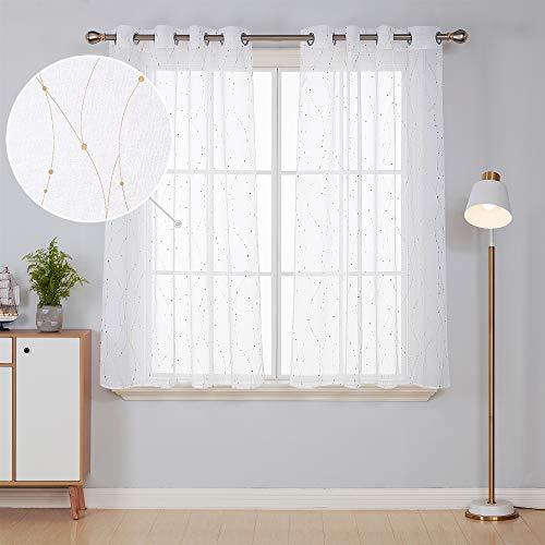 Deconovo 2er Set Vorhang Voile Leinen Optik Transparent Vorhänge Wohnzimmer Ösenvorhang Transparent 138x140 cm Weiß Gold 2er Set