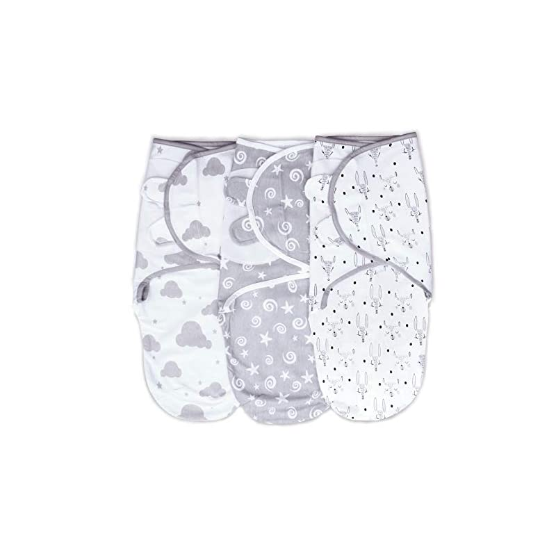 crib bedding and baby bedding cambria baby 100% organic cotton adjustable swaddle wrap for newborns 0-3 mo (neutral gray 3pk)