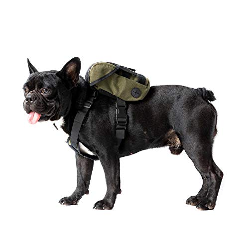 Dog Pack, K9 Backpack Durable Small Medium Dog Pack with Litter Bag Exit for Camping Hiking Daily Walking (Ranger Green, Extra Small)