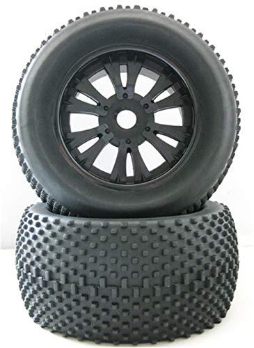 Huanruobaihuo 1/8 RC Borde de la Rueda de Goma y neumáticos for Coches Nitro Apagado Camino for Monster Truck AMAX HIMOTO HSP 140 * 78mm 17mm Adaptador Hexagonal (Color : YellowX2PCS)