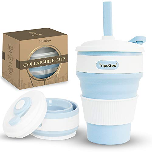 TripsGeo Collapsible Cup - 12oz/355ml - Pocket Size Collapsible Coffee Cup | Free Reusable Straw