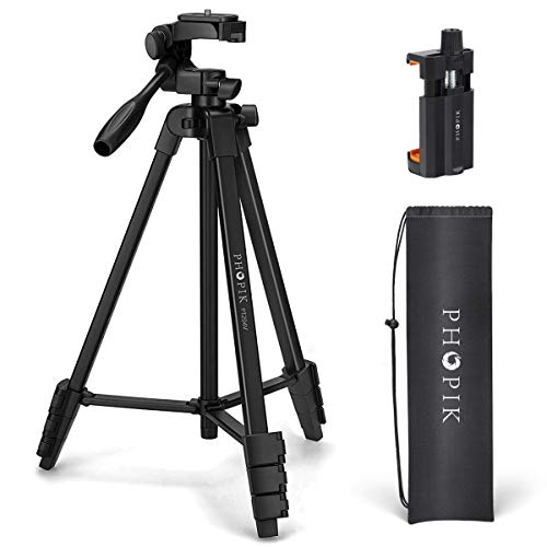 "PHOPIK Lightweight Phone Tripod 55-Inch, Video Tripod with 360 Panorama and 1/4"" Mounting Screw..."