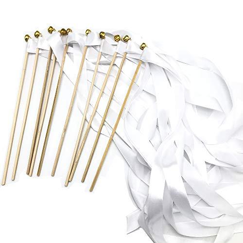 Schneespitze 10 Stück Glücksstäbe Wedding Wands, Zauberstäbe Glücksstäbe mit Band Glocken für Hochzeiten, Geburtstage, Partydekorationen