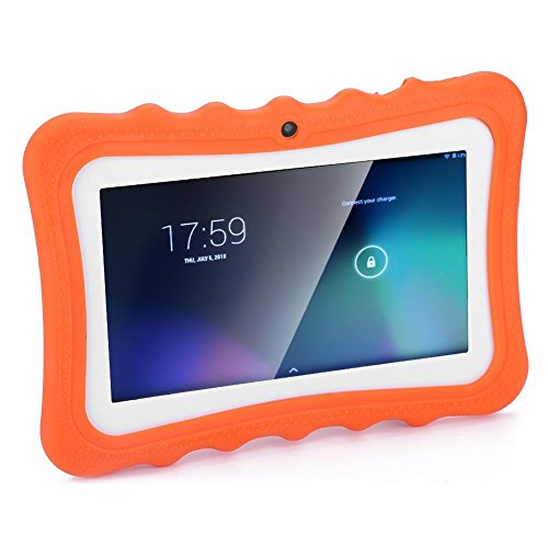 FECAMOS Tableta para niños, Lector electrónico de Aprendizaje con Pantalla táctil HD PC Protección Ocular WiFi Smart Pad para niños pequeños Aprendizaje, 7 Pulgadas(Naranja Enchufe Europeo)