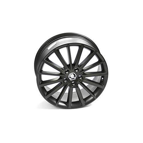 Skoda Llanta de aluminio Turini 5E0071498ZG6, 18 pulgadas, tuning, deportiva, 7,5JX18 ET51 5 x 112, color negro mate