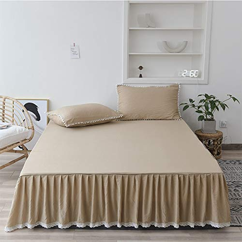 Falda de cama con Colcha Shabby chic Gris Oscuro falda con Volantes cama Doble / Individual Cubierta Antipolvo con Volantes Falda de cama de Color claro Cosida a Mano. ( Color : D , Size : 200x220cm )