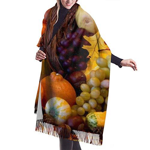 zhouyongz Thanksgiving Harvest Butternut Kürbis Traube Winter Schal Pashmina Schals Wraps für Frauen Abendkleid Brautjungfer Hochzeit