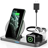 Latest 2020 Wireless Charger, 3 in 1 Qi-Certified Wireless Charging Station for AirPods Pro Apple Watch Series 5/4/3/2/1,Fast Charging Stand Dock for iPhone 11 Pro/11 Pro Max/XS Max/XR/X (Grey)