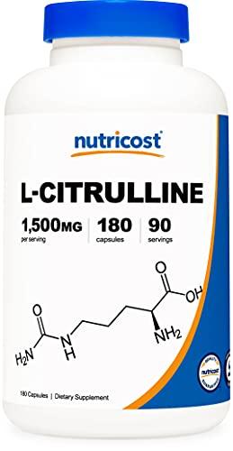Nutricost L-Citrulline 750mg, 180 Capsules - 1500mg Per Serv, Gluten Free