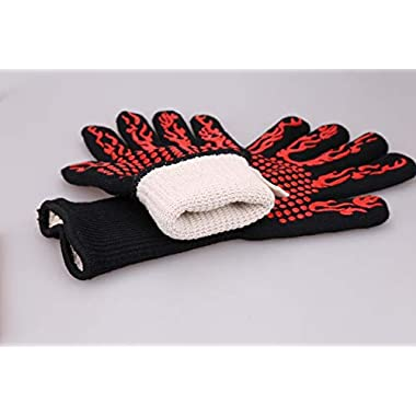 Bbq Gloves Grill Oven Heat Resistant Barbecue Accessories Baking Heat Proof Grill Mitts for Cooking and Protect Your Hand with Flexible Fingers (Torch)