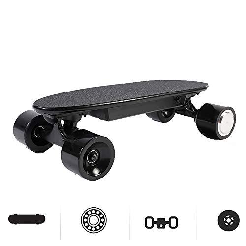 WOTR Elektrisches Skateboard, mit Fernbedienung und Motor, Platte Kleine Fische intelligente drahtlose Cruise motorisierte Skateboard für Mädchen und Jungen,Schwarz