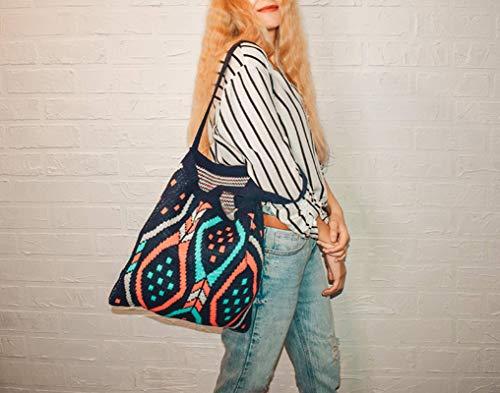 N-B Lady Knitting Gypsy Bohemian Boho Chic Aztec Tote Bag Women Crochet Woolen Open Shopper Top-Handle Bag Female Daily Handbag