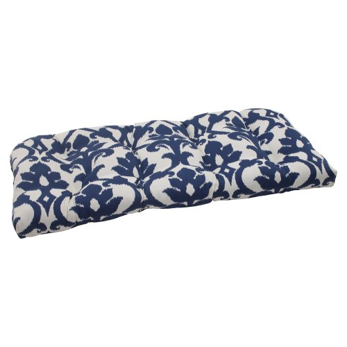 Pillow Perfect Outdoor/Indoor Basalto Navy Tufted Loveseat Cushion, 44' x 19', Blue
