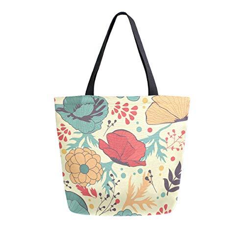 Mnsruu - Bolsa de compras para mujer, diseño de amapolas, tamaño grande, estilo casual, reutilizable, para ir de compras, ir al gimnasio