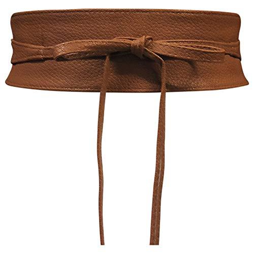 Cinturón Obi de mujer Banda de cintura ancha de encaje Cincha de cuero sintético Ate una talla Boho (Cuero Marrón)