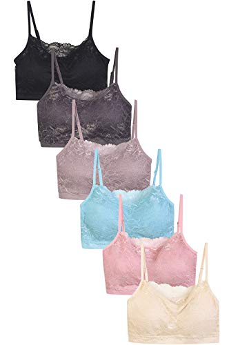 Sofra Women's 6 Pack of Seamless Padded Sports Bras (Assorted Colors)