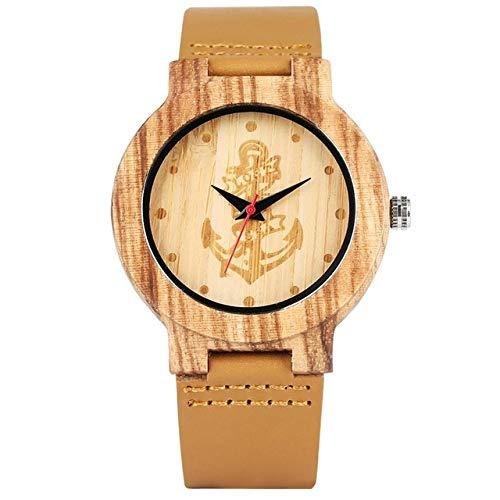 LCDIEB Reloj de Madera Minimalista para Hombres, Hecho a Mano Natural, Grabado con Calavera, brújula, Esfera de Alce, Reloj Creativo, Cuero marrón, Reloj leñoso, Hora para Hombres, Esfera de Ancla