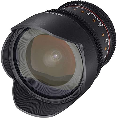 Samyang 10/3,1 Objektiv Video DSLR Canon EF manueller Fokus Videoobjektiv 0,8 Zahnkranz Gear, Weitwinkelobjektiv schwarz