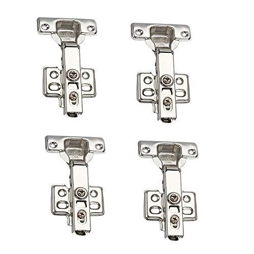 NUZAMAS 4 bisagras estándar de cierre suave para puerta de armario de cocina, 90 grados, superposición completa, 2 pares