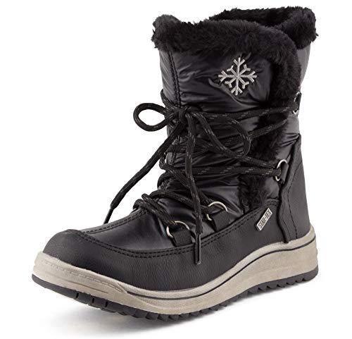 Fusskleidung Damen Schlupf Schnee Stiefel Winter Boots Gefüttert Stiefeletten Kunstfell Schnür Schuhe Schwarz EU 37