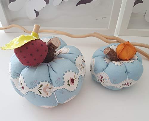 2er Set Kürbisse Blumen hellblau Dekokürbis Stoffkürbis Handarbeit Handmade