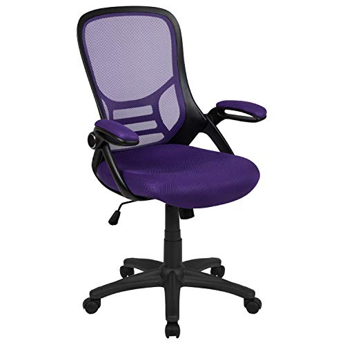 Flash Furniture High Back Purple Mesh Ergonomic Swivel Office Chair with Black Frame and Flip-up Arms