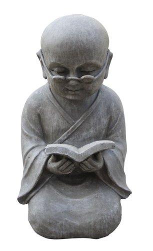 Stone-Lite BO 525 Statuette de Moine Shaolin lisant Un Livre Gris Clair