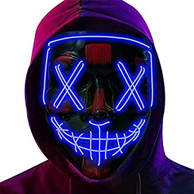 HalloweenPurgeMaskLED LightUp Halloween LED Scary Mask for Masquerade Costume Parties with El Wire Light Up (blue) from