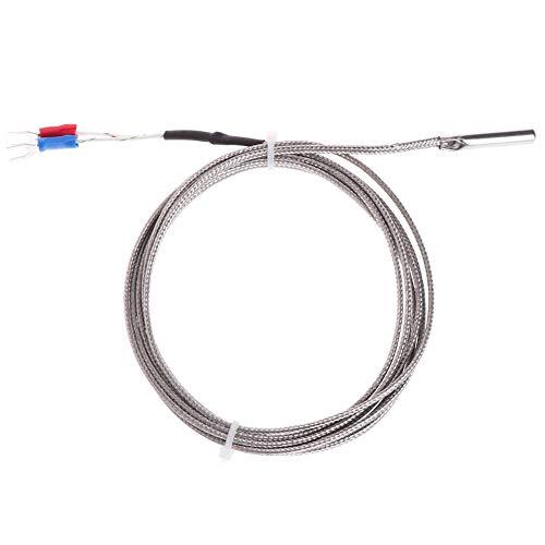 XIGAWAY Sensor de temperatura de termopar tipo K de 2 m, 0-600? 5 x 30 mm de acero inoxidable