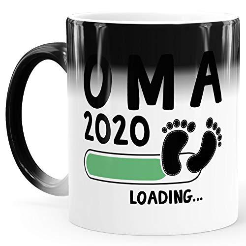 MoonWorks® Kaffee-Tasse Oma 2020 loading Thermoeffekt Zaubertasse Geschenk-Tasse für werdende Oma Bekanntgabe Ankündigung Schwangerschaft Geburt Baby weiss-gruen Magic-Tasse