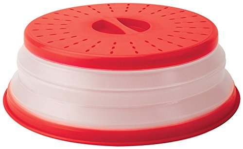 "Tovolo Vented Collapsible Microwave Food Cover With Easy Grip Handle, Dishwasher-Safe, BPA-Free Silicone & Plastic, 10.5"" Round, Red"
