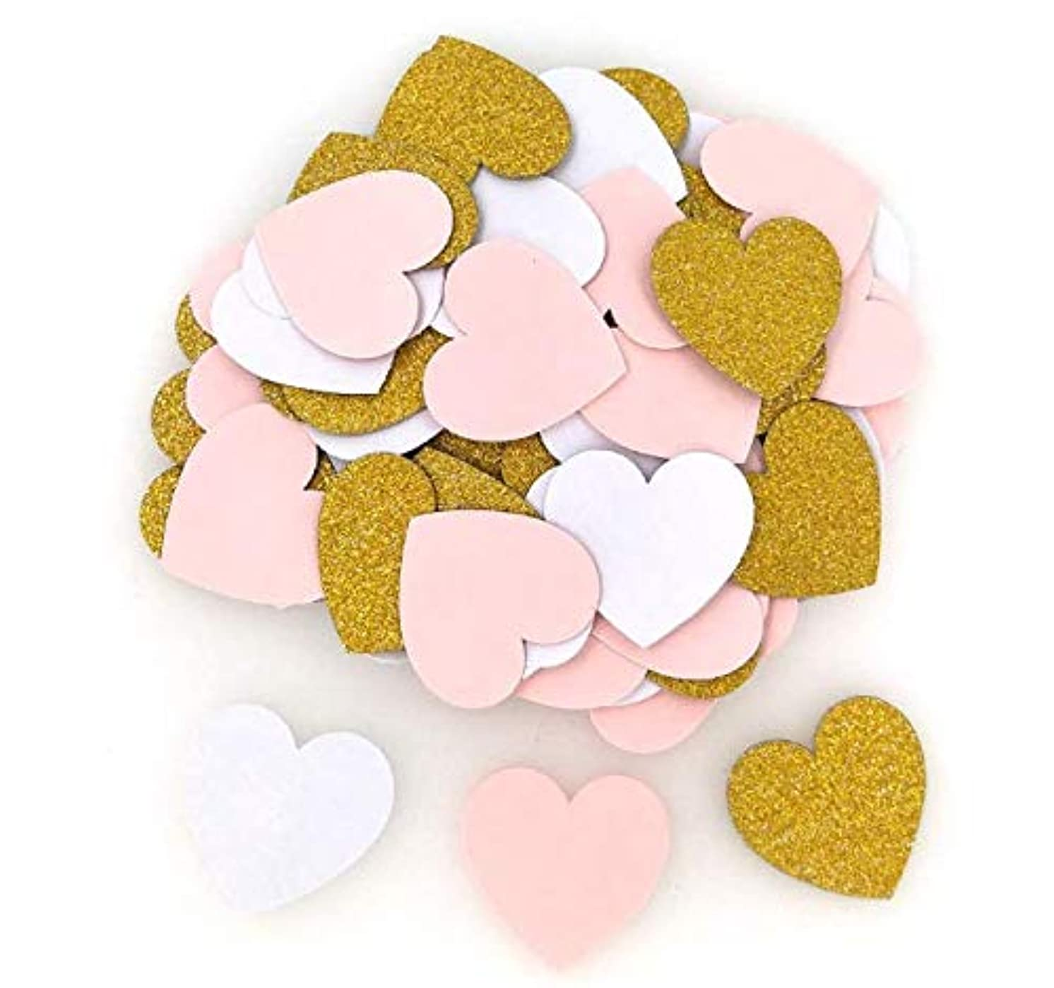 Glitter Lovely Heart Paper Confetti, Wedding Party Decor and Table Decor, 1.2'' in Diameter (Pink White Gold,400pc)