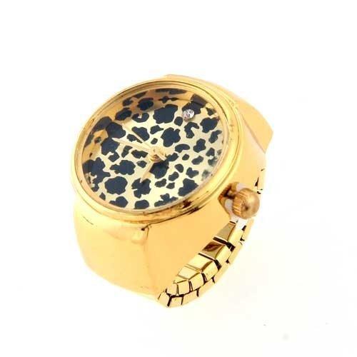 Gleader Anillo Reloj Metal Redondo Ajustable Leopardo Moda 22mm